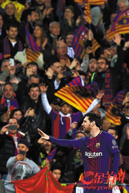 """▶连续攻破昔日""""克星""""切尔西的大门,梅西庆祝自己的里程碑进球"""