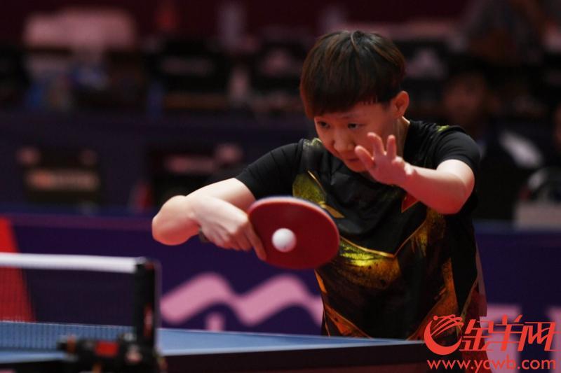 2018年8月28日,亚运会乒乓球团体赛展开金牌角逐。中国女队先拔头筹,以总比分3-0战胜朝鲜队,夺得冠军。 图为中国队王曼昱在比赛中。 金羊网特派记者 周巍 摄