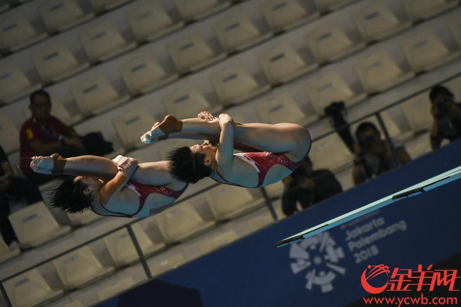 2018年8月29日,亞運會女子跳水三米板決賽中國隊施廷懋、昌雅妮奪冠。 金羊網特派記者 周巍 攝